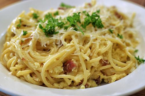 Spaghetti met prei en spek (lactose vrij)