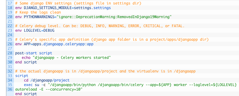 Virtualenv Celery workers under upstart